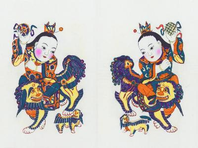 Chinese Door Keepers, Children Riding Lions, C.1980S--Giclee Print