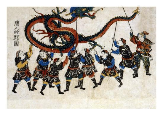 Chinese Dragon Dance, Japanese Wood-Cut Print-Lantern Press-Art Print