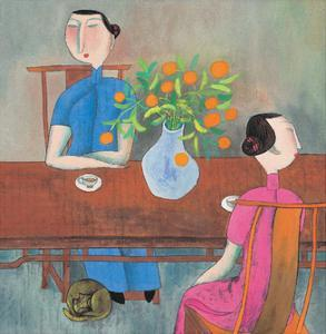 Chinese Folk Art - Cat under the Tea Table