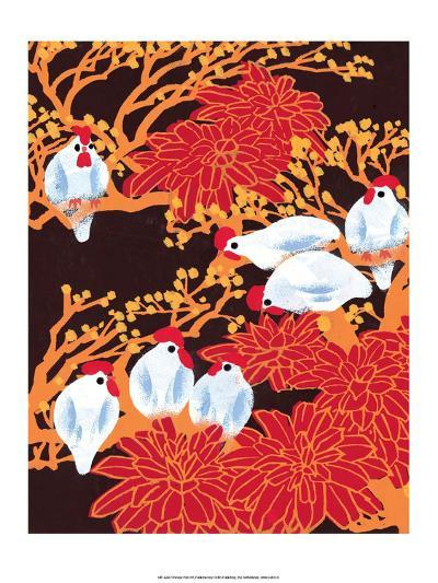 Chinese Folk Art - Chickens in the Trees--Art Print