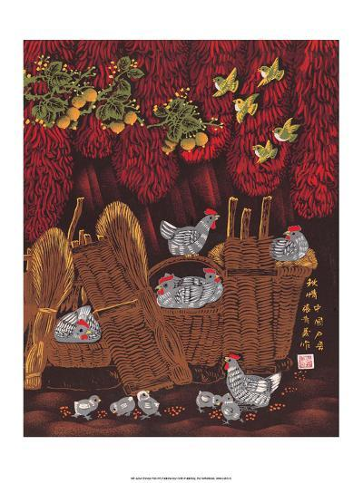 Chinese Folk Art - Chickens in the Woven Baskets--Art Print