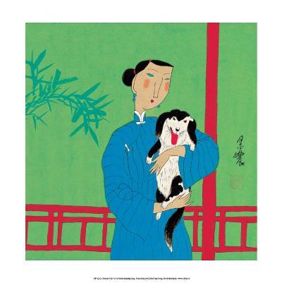 Chinese Folk Art - Girl Holding a Dog--Art Print