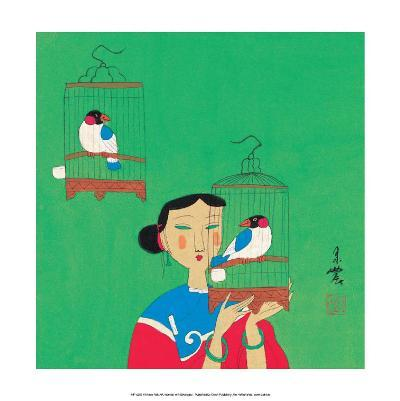 Chinese Folk Art - Girl with Birdcages--Art Print