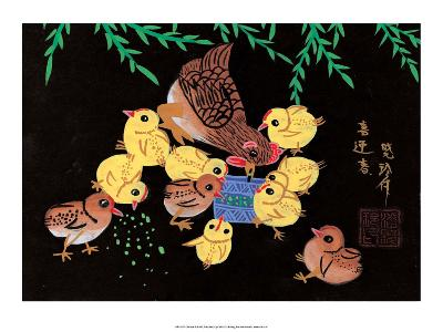 Chinese Folk Art - Mother Chicken with Baby Chicks--Art Print
