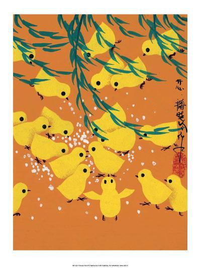Chinese Folk Art - Yellow Chicks Pecking at Grain--Art Print