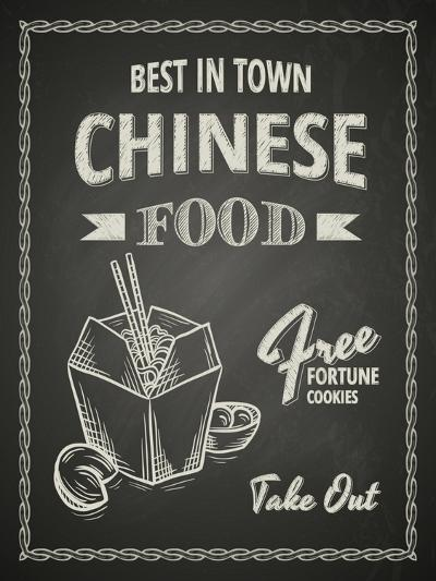 Chinese Food Poster on Black Chalkboard-hoverfly-Art Print