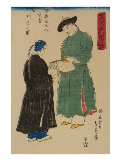 Chinese from Nanking Admire Koshu? Fan (Shincho? Nankinjin Kansho Koshu? O?Gi No Zu)-Sadahide Utagawa-Art Print