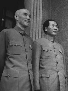 Chinese General Chiang Kai Shek Standing Side by Side W. Communist Ldr. Mao Tse Tung