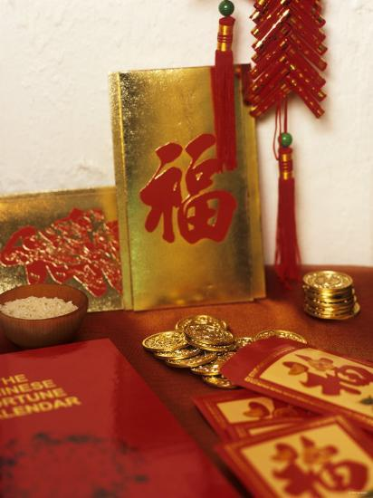 Chinese Good Luck Symbols for New Year (Gold Coins & Rice)--Photographic Print