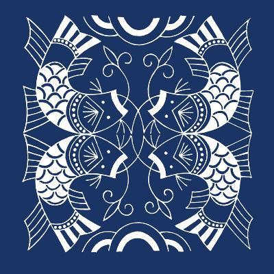 Chinese Indigo Fish II-Vision Studio-Art Print