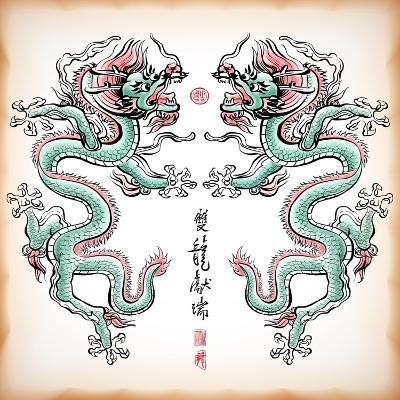 Chinese Ink Painting Of Dragon Translation: Blessing Of Double Dragons-yienkeat-Art Print