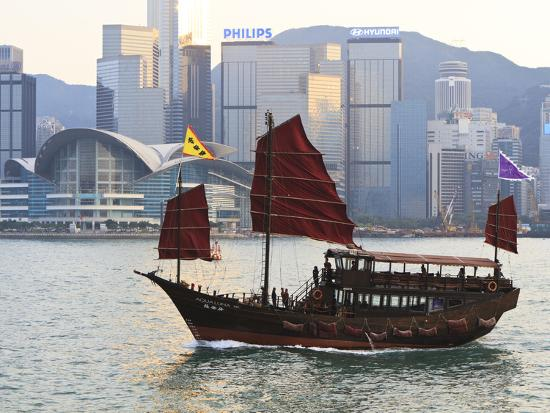 Chinese Junk Boat Sails on Victoria Harbour, Hong Kong, China, Asia  Photographic Print by Amanda Hall | Art com