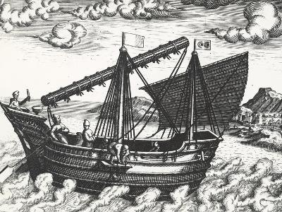 Chinese Junk, Originating from Peregrinationes, by Johann Theodore De Bry, 17th Century--Giclee Print
