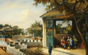 Chinese Ladies Playing Mahjong in the Pavilion of a House, Chinese School, Mid 19th Century