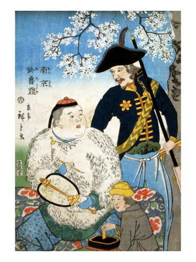Chinese Man and a Russian Man, Japanese Wood-Cut Print-Lantern Press-Art Print