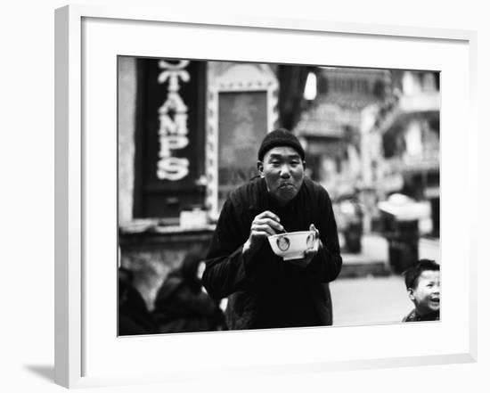 Chinese Man Using Chopsticks To Eat From Bowl, Portrait, Hong Kong-Charles Phelps Cushing-Framed Photographic Print