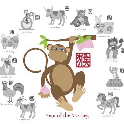 Chinese New Year Monkey Color with Twelve Zodiacs Illustration-jpldesigns-Art Print