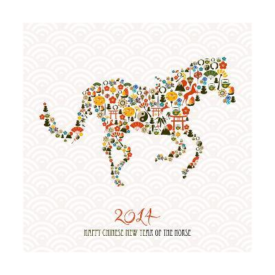 Chinese New Year Of The Horse Illustration-cienpies-Art Print