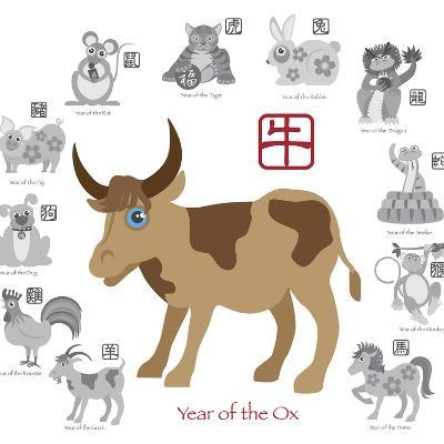 Chinese New Year Ox Color with Twelve Zodiacs Illustration-jpldesigns-Art Print