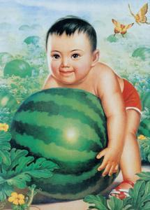 Chinese New Year Poster Baby with Huge Watermelon