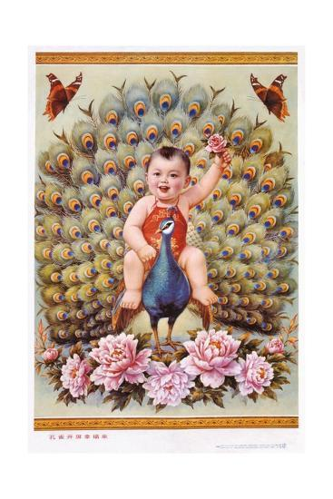 Chinese New Year's Poster with Baby Boy Riding Peacock--Giclee Print