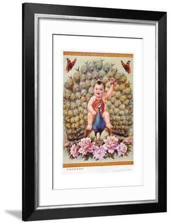 Chinese New Year's Poster with Baby Boy Riding Peacock--Framed Giclee Print