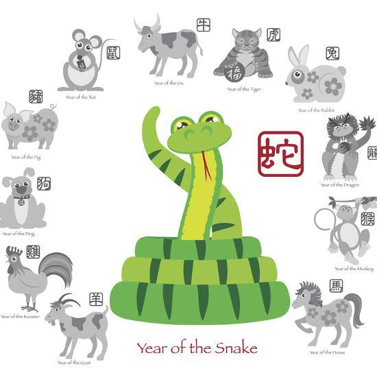 Chinese New Year Snake Color with Twelve Zodiacs Illustration-jpldesigns-Art Print