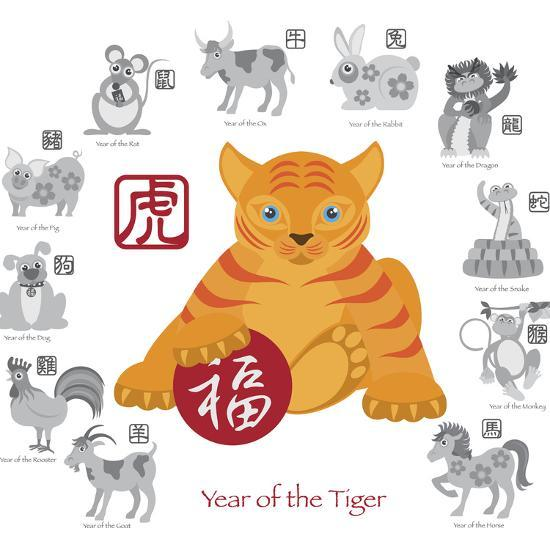 Chinese New Year Tiger Color with Twelve Zodiacs Illustration-jpldesigns-Art Print