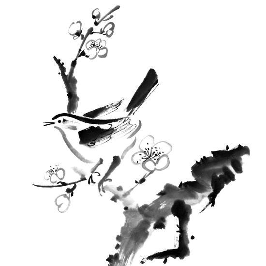 Chinese Painting , Plum Blossom And Bird, On White Background-elwynn-Art Print