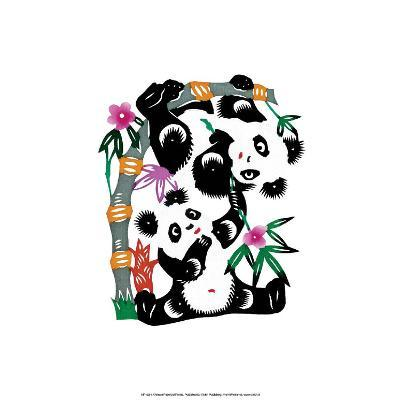 Chinese Paper Cut, Two Playful Pandas--Art Print