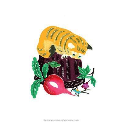 Chinese Paper Cut, Yellow Cat on Basket--Art Print