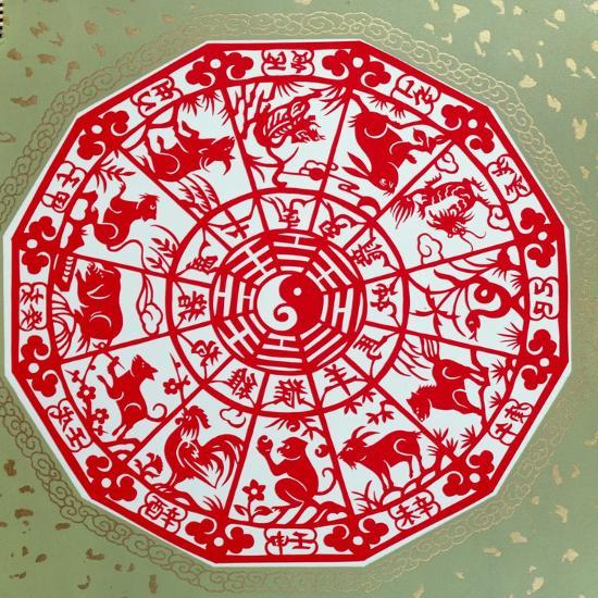 Chinese Papercut Depicting the Twelve Signs of the Zodiac, C.1980--Giclee Print