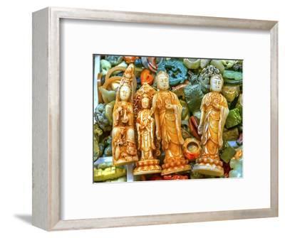 Chinese replica of plastic Buddha, Panjuan Flea Market decorations, Beijing, China.-William Perry-Framed Photographic Print