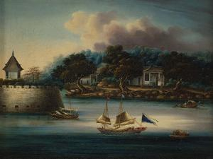 A River Scene with a Folly Fort; and Junks Moored around an Island Temple by Chinese School