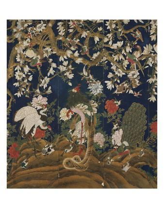 Detail from a Set of Chinese Painted Wallpaper Panels Depicting Pheasants, Phoenix and Peacocks…