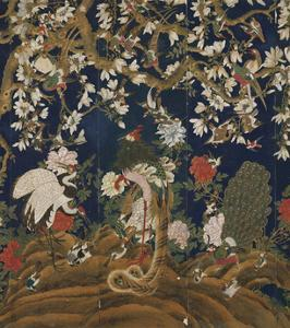 Detail from a Set of Chinese Painted Wallpaper Panels Depicting Pheasants, Phoenix and Peacocks… by Chinese School