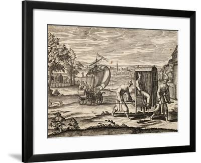 Chinese Sedan, East India, Engraving from Work by Theodor De Bry--Framed Giclee Print
