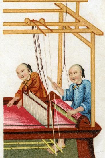 Chinese Silk Weaving, 20th Century--Giclee Print