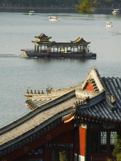 Chinese Style Boats on a Lake in Beihai Park, Beijing, China-Kober Christian-Photographic Print