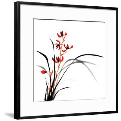 Chinese Traditional Ink Painting Of Orchid On White Background-elwynn-Framed Art Print
