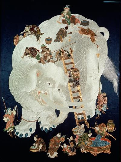 Chinese Washing a White Elephant, Gift Cover, 1800-50--Giclee Print
