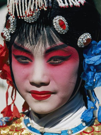 Chinese Woman in Theatrical Makeup and Costume Photographic Print by Paul Chesley   Art.com
