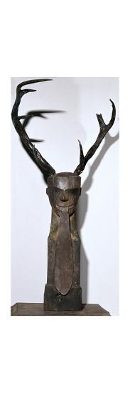 Chinese wooden sculpture of an antlered head-Unknown-Giclee Print