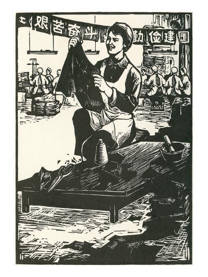 Chinese Worker Cutting Cloth--Art Print