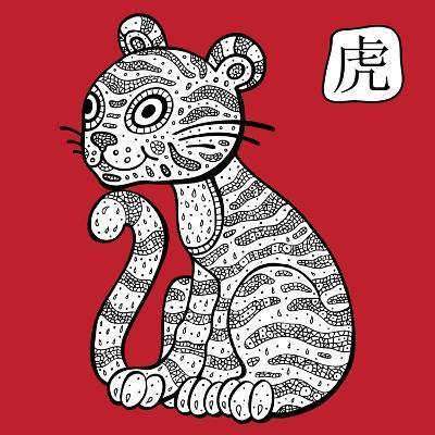Chinese Zodiac. Animal Astrological Sign. Tiger.-Katyau-Art Print