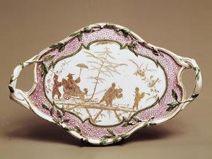 Chinoiserie Decorated Tray, Maiolica