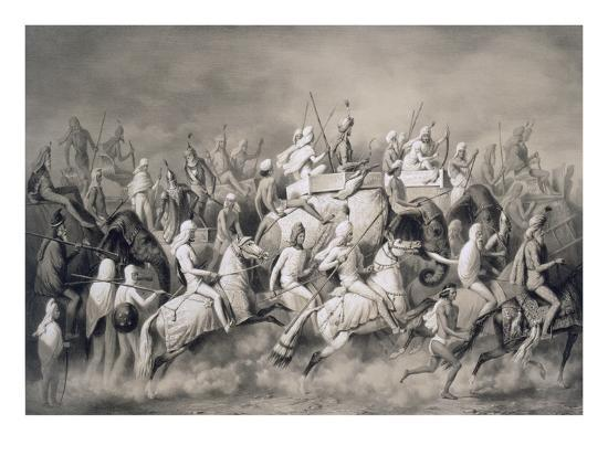 Chir Singh, Maharajah of the Sikhs and King of the Punjab with His Retinue Hunting Near Lahore-A. Soltykoff-Giclee Print