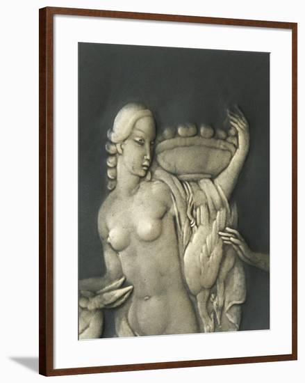 Chiselled Silver Plate Depicting Mythological Scene. Detail: Diana the Hunter-Cornelio Ghiretti-Framed Premium Giclee Print