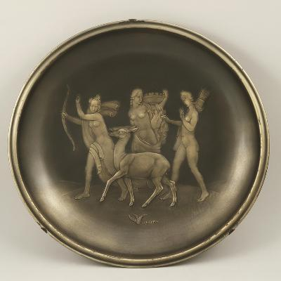 Chiselled Silver Plate Depicting Mythological Scene with Diana the Hunter-Cornelio Ghiretti-Giclee Print