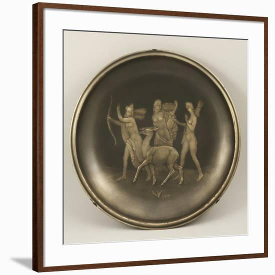 Chiselled Silver Plate Depicting Mythological Scene with Diana the Hunter-Cornelio Ghiretti-Framed Giclee Print